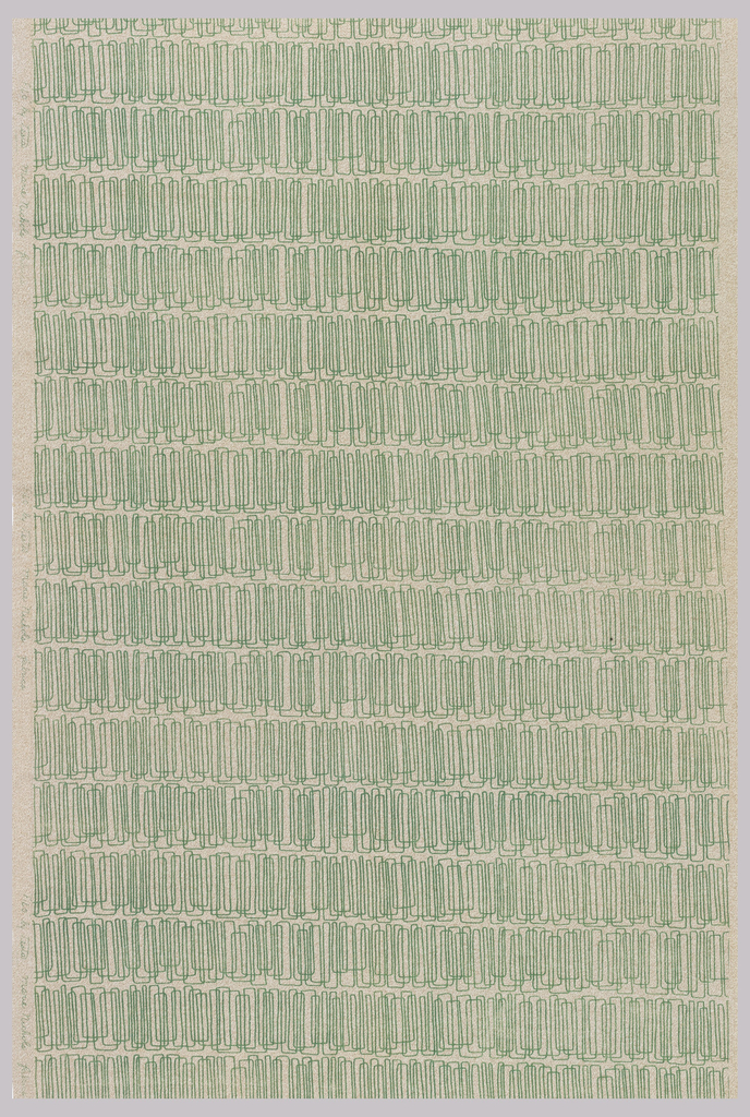 Printed textile with horizontal rows of continuous line forming overlapping rectangles; in green on an off-white ground.