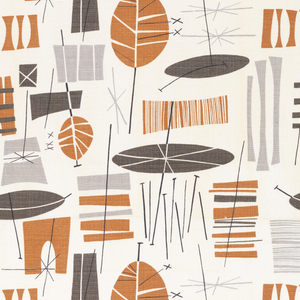 Abstract leaf-like shapes in grey, black and brown.