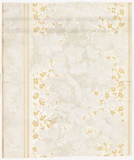 Complete width. Faint grisaille pattern of flowers and foliage, with over-printed gilt sprays of small branches with leaves, and stripes of short transverse lines in gilt. Printed in gilt, gray and white on white ground stamped with serpentine lines.