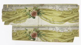 Festooned yellow drapery, with pink and yellow roses. Printed two across.