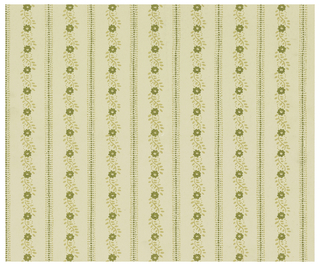 """On off-white ground, vertical stripes formed of olive and beige dots and small scale flowers. Verso: political broadside headlined: """"Vote por Hyman Silverglad para Asambleista,"""" with text in Spanish, five photographs."""