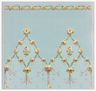 "a) Petite floral stripe pattern. Small bouquets with ribbons on moire ground with three-leaf clover motif; b) Crown frieze with floral stripe meeting in pointed arch. Pinstripe pattern above arches. Printed in selvedge: ""MH Birge & Sons Co USA""."