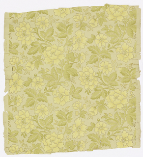On off-white ground, pale yellow and metallic gold flowers on green leafed stems alternate in an all-over pattern. (chrysanthemums?)