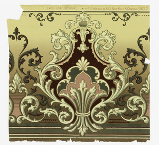Fleur-de-lys motif set within large foliate medallion. Also acanthus scrolls. Printed in pink, green, deep red and light yellow on background that shades from yellow to brown.