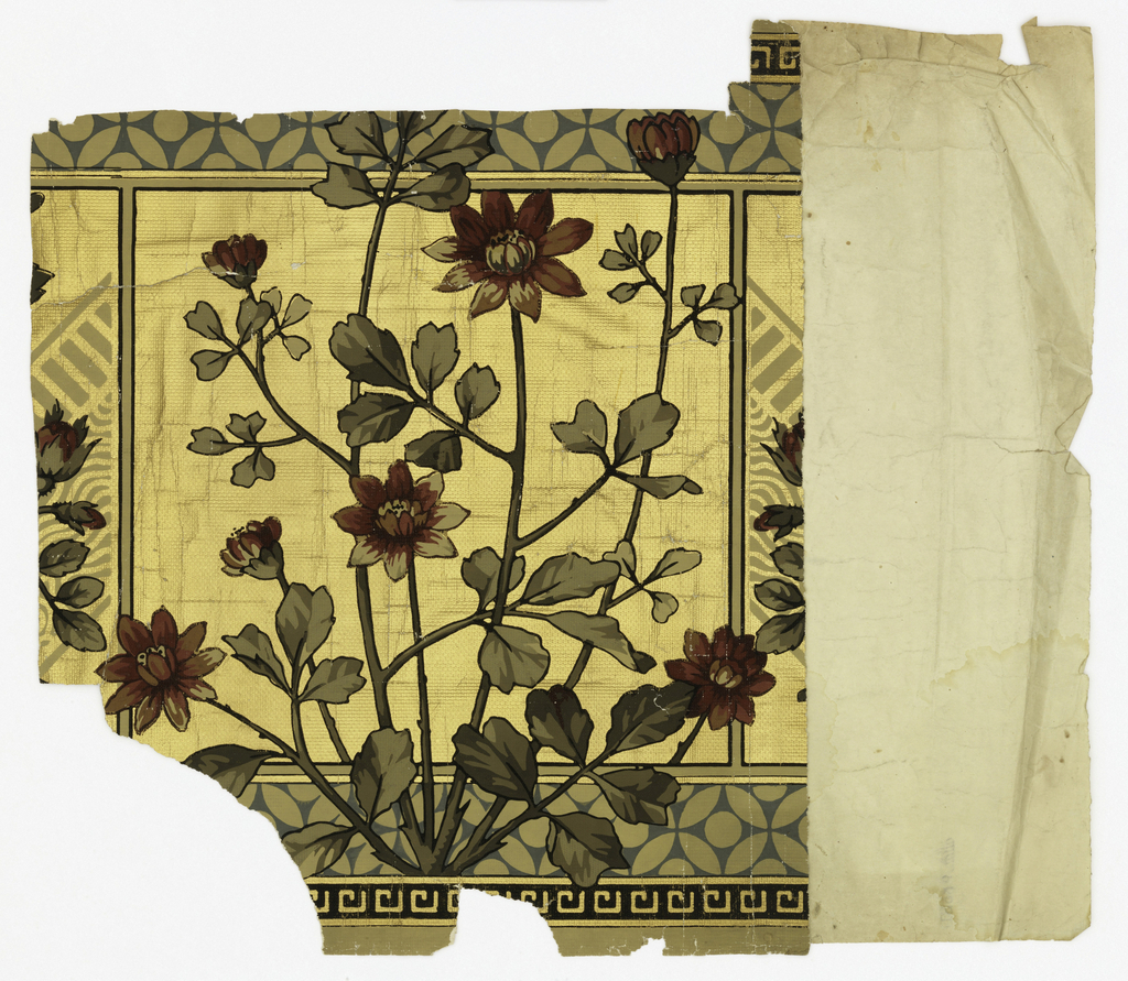 Aesthetic-style design. Central motif of red flowers growing on plant. Design is enframed by squares, with flowers extending beyond lines of square. Bands of blue circular motif run along both top and bottom edges. Metallic gold background. Printed on an embossed paper simulating textile weave.