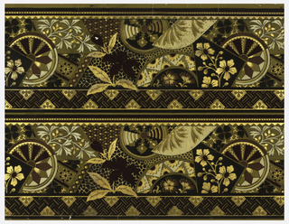 Aesthetic or Anglo-Japanesque-style border; stylized floral motifs and geometric shapes. Printed in burgundy, black and white on ocher ground. Band of parquet or basket-weave design across bottom edge and beading across top edge. Printed two across.