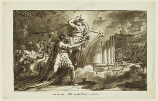 Iris flies besides the walking Priam; a view into a room with sleeping Trojans is at left; the camp of the Greeks is shown in the right middle plane; Thetis approaches Achilles who sits behind the body of Hector who is fastened to his chariot.