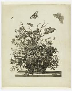 Tulips, narcisses, anemones, peonies, etc. in a basket. Four butterflies and a bee flying above; below in table, right: a caterpillar, in center a fly.