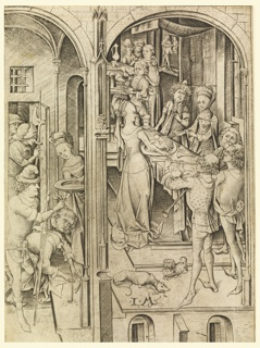 Two scenes; left: the jailer handing the head of John the Baptist to Herodias to put on the platter. Right: Herodias brings the head on the platter to the King Herod.