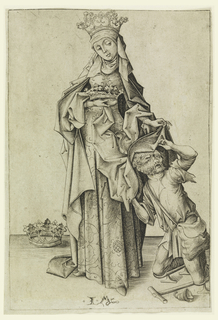 St. Elizabeth covering a cripple with a mantle. She wears a crown, carries a crown and a third one is on the ground beside her.