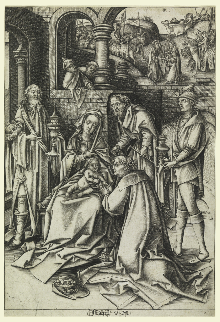 The scene is taking place in a courtyard of a building at left. Two kings stand on each side of the Virgin, the third kneels in front of the Virgin. In background, the meeting of the Kings.