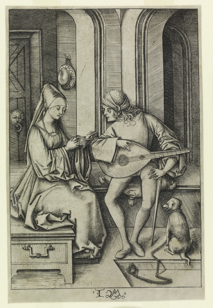 A young man, seated on the right, accompanies on his lute a young lady seated beside him who sings.  A dog is seen chained near the man.