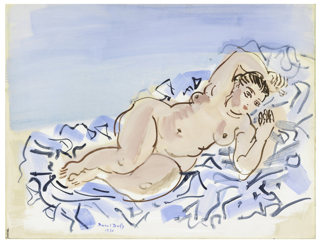Reclining female nude, right arm over head, on a blue background.