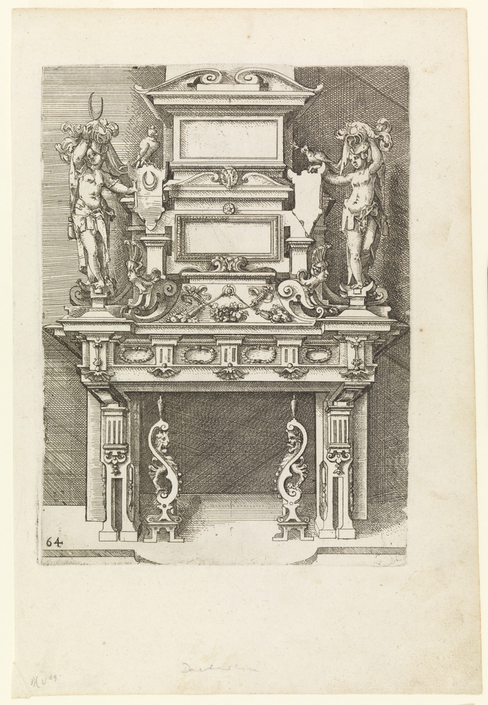Highly ornamented fireplace with figures, animals, and vegetal forms.