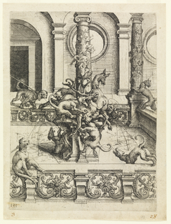 Image wild dogs and beasts climbing a pillar, with vines at the top; surrounded by a balustrade with a wild cat and arched structure.