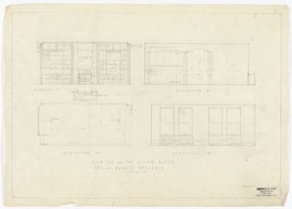 Elevations of apartment's living room.