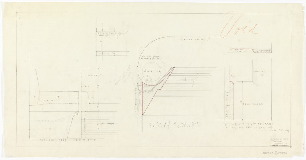 Drawing, Apartment for Mr. and Mrs. Maurice Benjamin: ceiling and trim details