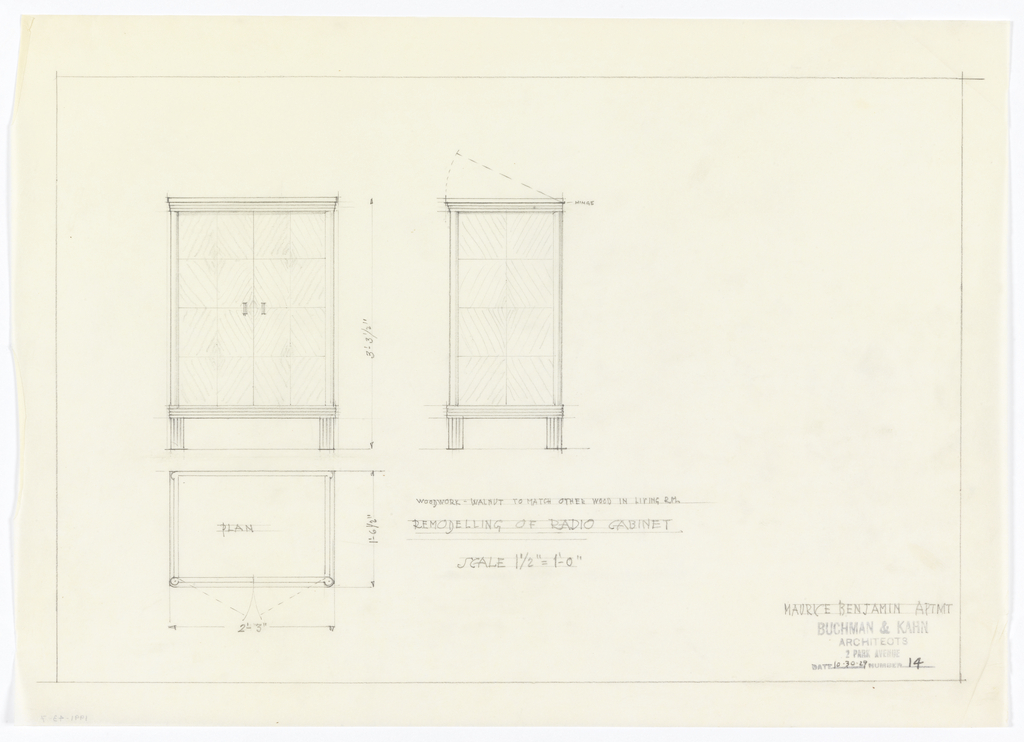 Plan and elevation of radio cabinet.