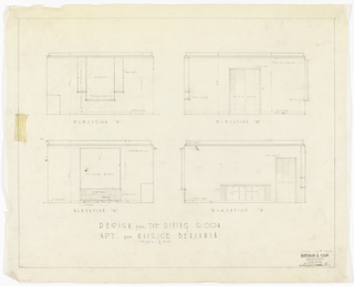 Four elevations for dining room. Lower margin, in graphite: DESIGN FOR THE DINING ROOM / APT. FOR MAURICE BENJAMIN.