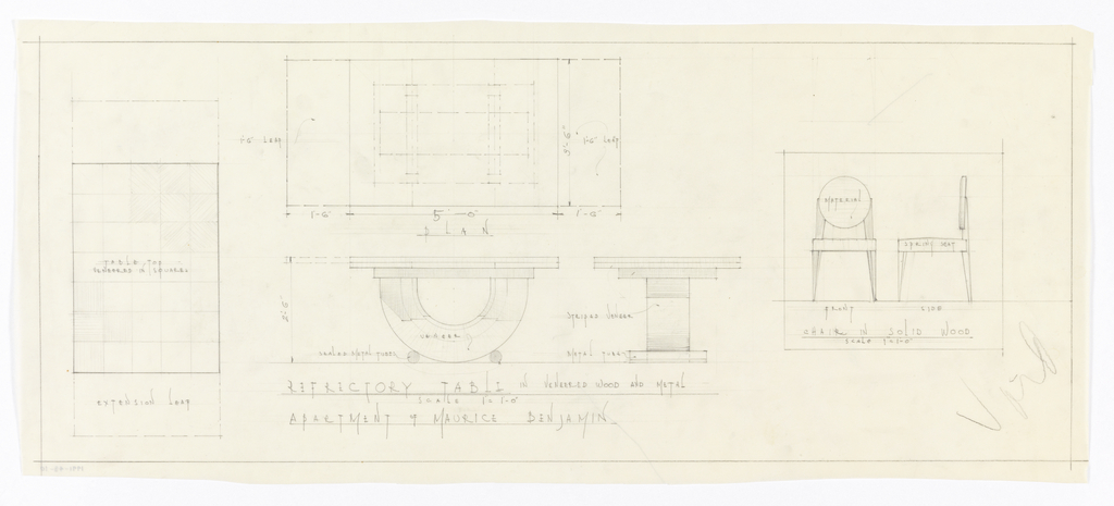 Plans and elevations for dining room furniture.
