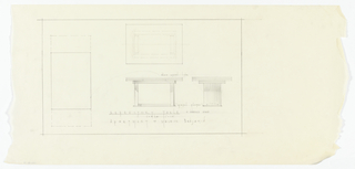 Elevation and plan of dining room furniture.
