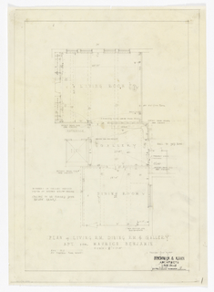 Plan of living room, dining room and gallery.