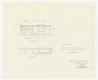 Elevation and plan of desk, cupboards and bookcase for boy's room.