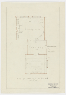 Plan for dining, living rooms and gallery.