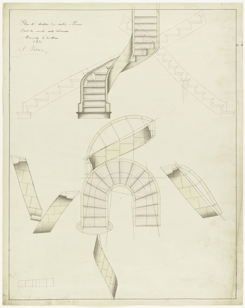 Plans and designs of stairs and staircases, in pink wash; one curved, another U-shaped.