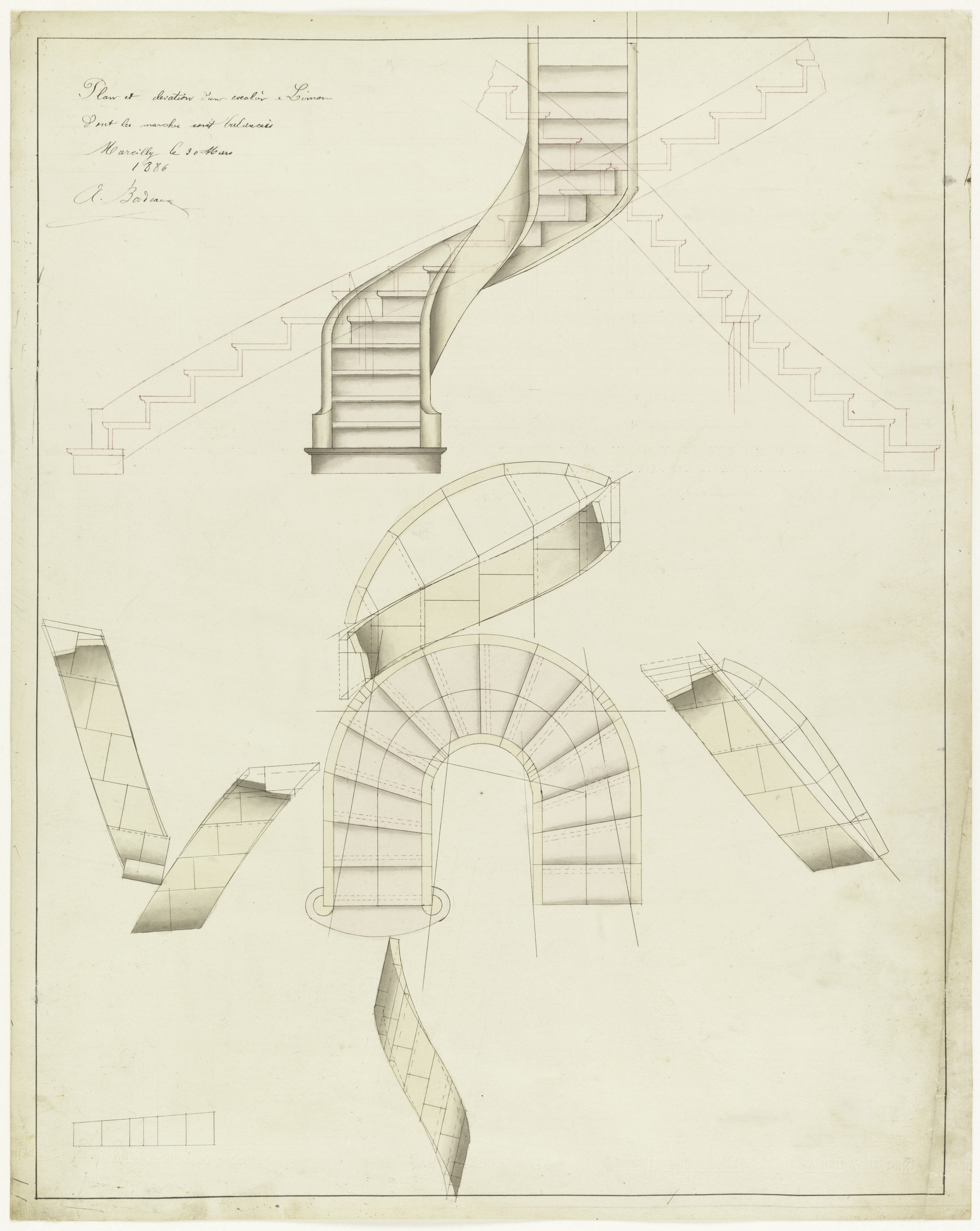 Picture of: Drawing Elevation And Plan View For A Spiral Staircase March 30 1886 Objects Collection Of Cooper Hewitt Smithsonian Design Museum