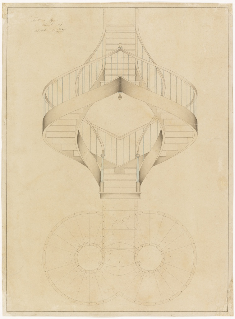 Drawing Elevation And Plan View For A Double Spiral Staircase