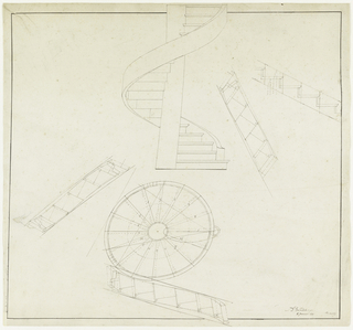 Design for spiral staircase, elevation and plan.