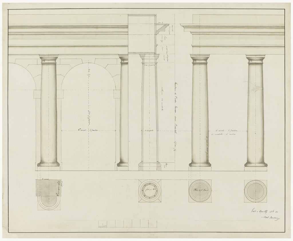 Design for Tuscan columns with arches, plans and elevations, supporting entablatures; scale in lower margin.