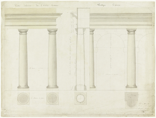 Tuscan columns supporting entablatures; scale below. Right side, two columns supporting arches and entablature. Dimensions of all. Profile view of columns with entablature and cornice.