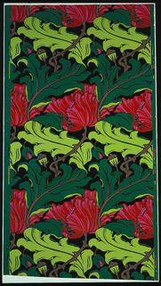 a) On light gray-green ground, large-scale repeating pattern of ragged-petaled pink poppies, swirling gray-green and (reserved) light gray-green leaves, light brown stems with briars, brown in-fill; b) Same, on emerald green ground, with bright red and pink poppies, bright chartreuse and (reserved) emerald leaves, brown stems, black in-fill.