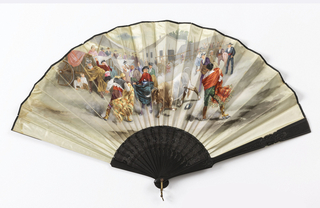 Pleated fan. Pale blue satin leaf with a design on the obverse of a rustic bullfighting scene. Sticks are carved ebony with a portion carved à jour.