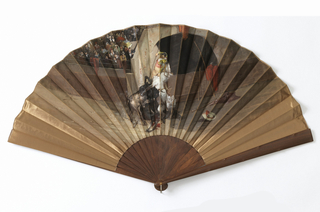 Pleated fan with bullfighting scene painted on bronze-colored silk satin. Walnut guards carved with imitation knots.