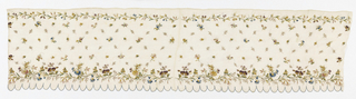 Border of fine white cotton embroidered with multicolored silk in chain stitch showing small scattered flowers; small and large floral borders at top and bottom. Deeply scalloped edge, buttonhole stitched in blue.
