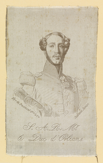 Woven portrait of the Duc d'Orléans (1810-1842) of France.