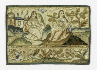 At top, two seated women, one holding a palm, the other a branch of fruit.  Frieze at bottom with flowers and a squirrel.