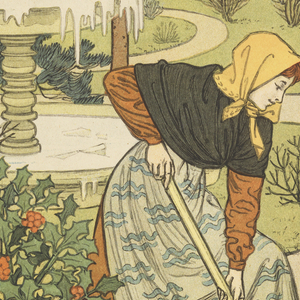 A young woman with a kerchief over her head and a long brown dress shovels snow away from the garden path. Behind her a fountain with frozen water. Upper right: JANVIER.