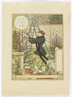 A young woman on a ladder with a long black fur scarf around her neck. She is trimming branches in a walled garden. White lilies can be seen in the foreground. Upper left in a yellow circle: FE- / -VRI- / -ER.
