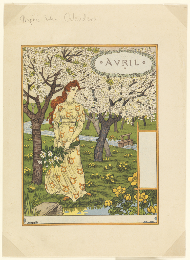 A young woman stands in a yellow dress holding long-stemmed flowers; she has long red hair and looks to her proper left, below cherry blossoms. Before her is a fountain or stream with a rock and flowers in the foreground. Beyond is a small wooden dam. Upper right, in a wreath: AVRIL.