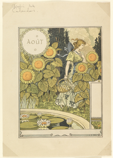 A young blond woman in a yellow dress carrying a basket of flowers; she walks through tall sunflowers. In the foreground is a cropped fountain with lily pads and blossoms. Upper left, in a round wreath: AoûT.