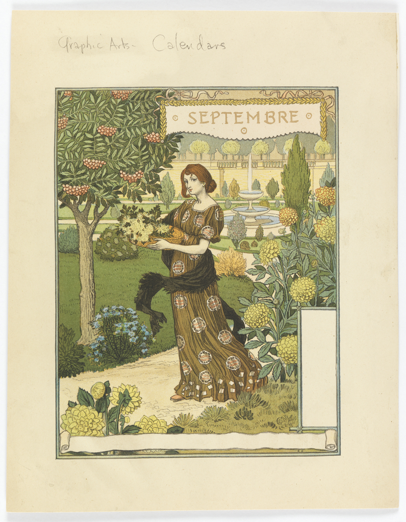 A young woman with auburn hair wearing a long flowing dress and a black shawl, carrying in her arms a basket of wild flowers; she walks along a path; behind her is a tiered fountain spewing water and she is surrounded by hydrangeas and other flowers. Upper right: SEPTEMBRE.