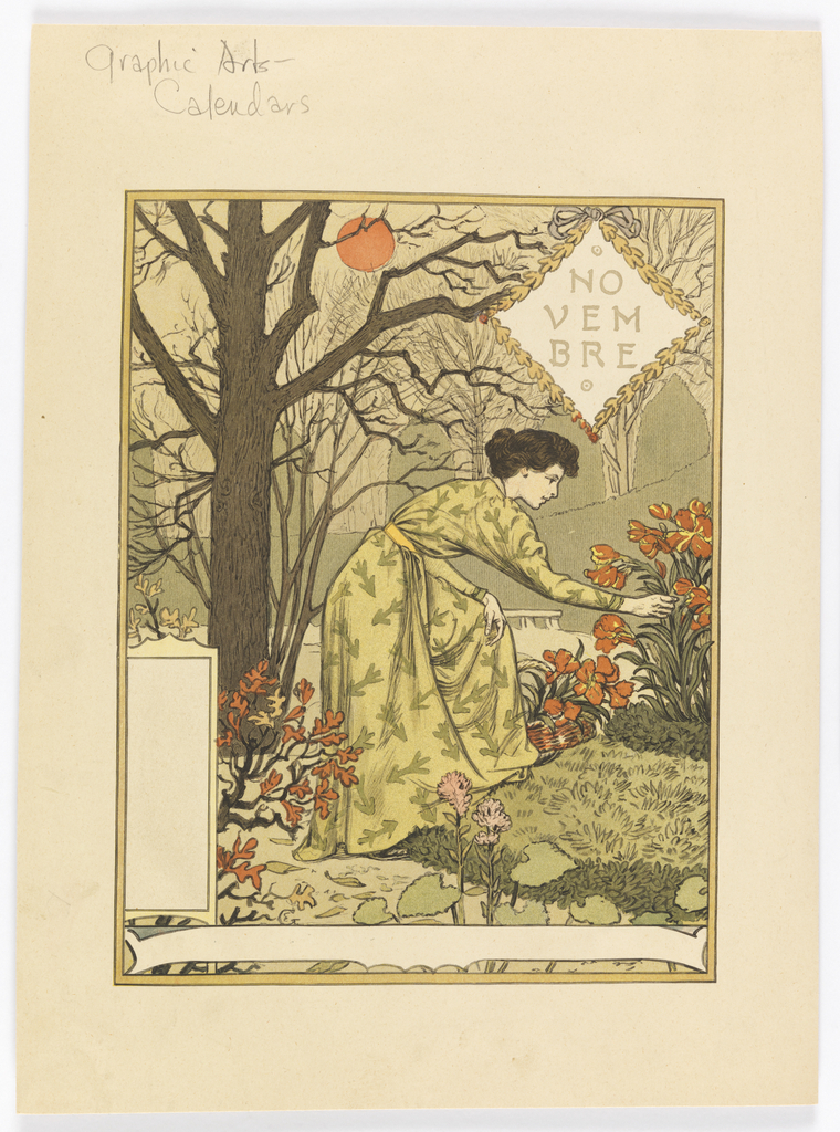 A brunette woman, wearing a yellow dress with a yellow sash around waist, bends over to observe and touch dark orange flowers. She stands on the path of a garden; a large bear tree to her left; in a diamond wreath, upper right: NO / VEM / BRE.