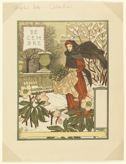 A red-headed woman wearing a long terracotta-colored dress and a black shawl around her head stands carrying a cloth filled with green plants. The ground is snow covered and some plants and flowers stand around her. Behind her is an urn on a pedestal covered with snow. Upper left: DÉ / CEM / BRE.