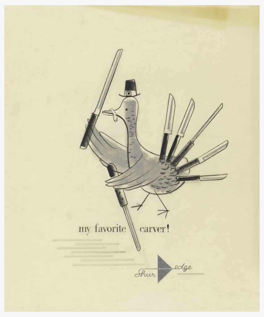 """Profile of turkey wearing a Pilgrim hat and holding a knife in each wing.  His tail is  made of 5 knives of various types.  Image is above caption: """"my favorite carver!"""" Below caption is series of  pale grey parallel lines (7 pairs) which indicate the space for the text.   ShurEdge logo (name linked across pointed, silver triangle) is at lower right."""
