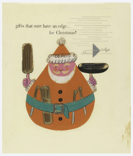 """Santa Claus (a collaged cut-out) in shape of bounce-back punching toy.  He holds a box of knives in each hand and has 3 single knives and 1 boxed set of knives tucked into his belt.  Shur Edge logo (name lined across silver pointed triangle), upper right.  Caption at upper left: """"gifts that sure have an edge... for Christmas!""""   Series of parallel lines, indicating placement for text, at upper right."""