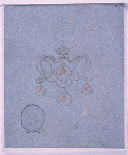 An escutcheon with a vase on top and two scrolls forming the sides. Below hang three pearls.